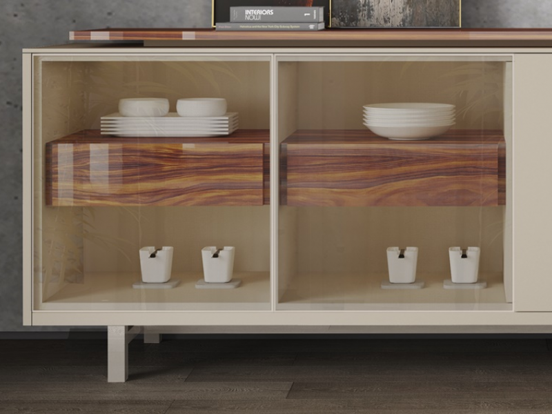 Lacquered sideboard with glass and wood doors, drawers and leds light. Mod. AOSTE