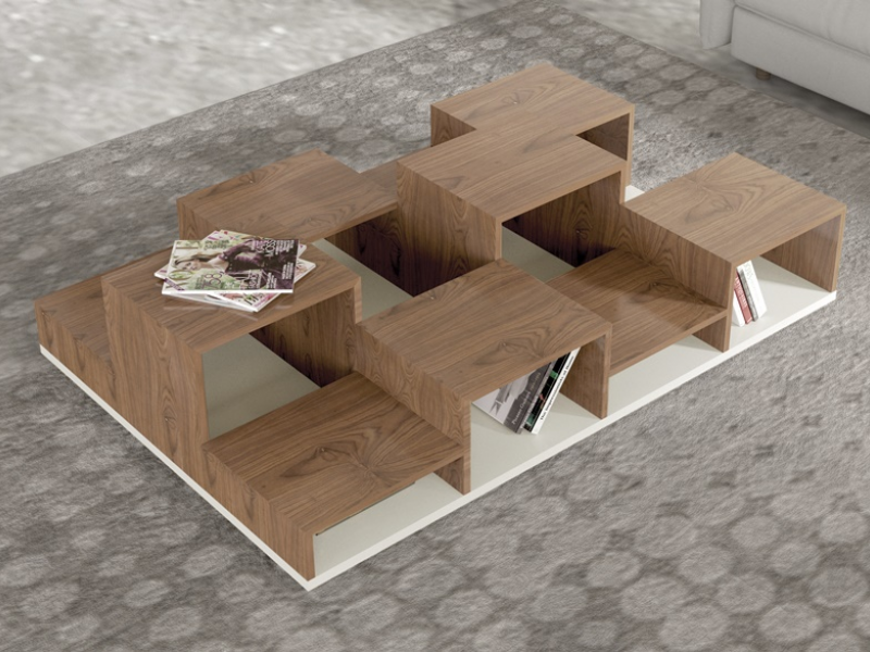 Lacquered and wood coffee table  with magazine rack. Mod. BETULA