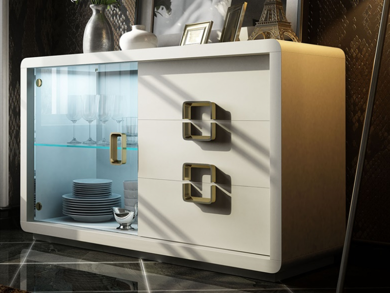Lacquered sideboard with glass door and drawers. Mod. SOLEIL LACADO