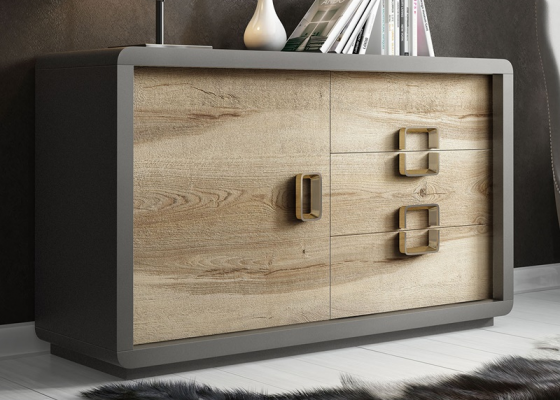 Lacquered sideboard with door and drawer in oak. Mod. SOLEIL