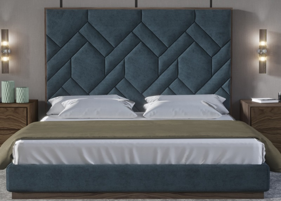 Complete upholstered bed with american wwalnut wood details. Mod: DORIANNE WALNUT