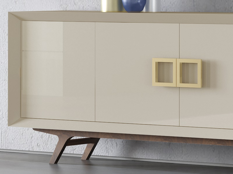 Lacquered sideboard with wooden legs. Mod. DOLCE