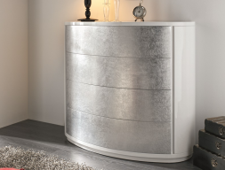 Curved lacquered dresser with front silver leaf. Mod. GALATEA