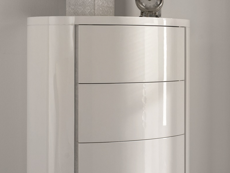 Curved lacquered chiffonier. Mod. TESSA