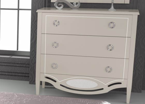 Lacquered dresser with 3 drawers. Mod. SUITE2020