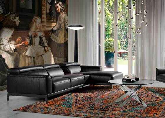 Synthetic leather sofa with chaise longue. Mod. STELLA-L NEGRO