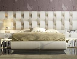 Complete upholstered bed. Mod: NOOR