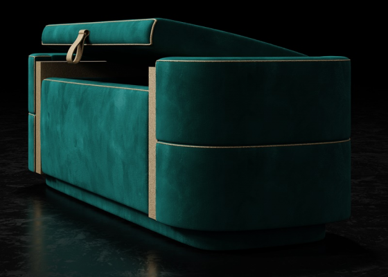 Design upholstered bench. Mod. VERDI