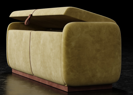 Design upholstered bench. Mod. GOYA