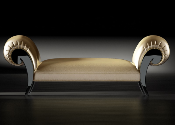 Upholstered and lacquered lounge chair. LACQUERED IMPERIUM