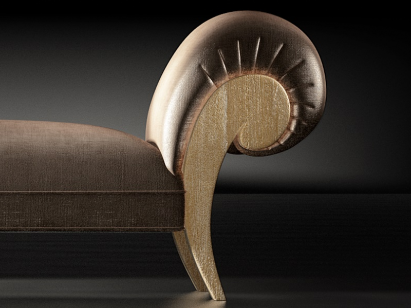 Upholstered and oak finishes lounge chair. OAK IMPERIUM
