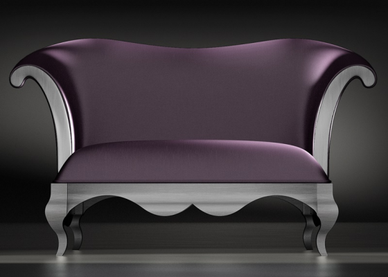 Upholstered smal sofa with lacquered base. Mod. ELEGANT