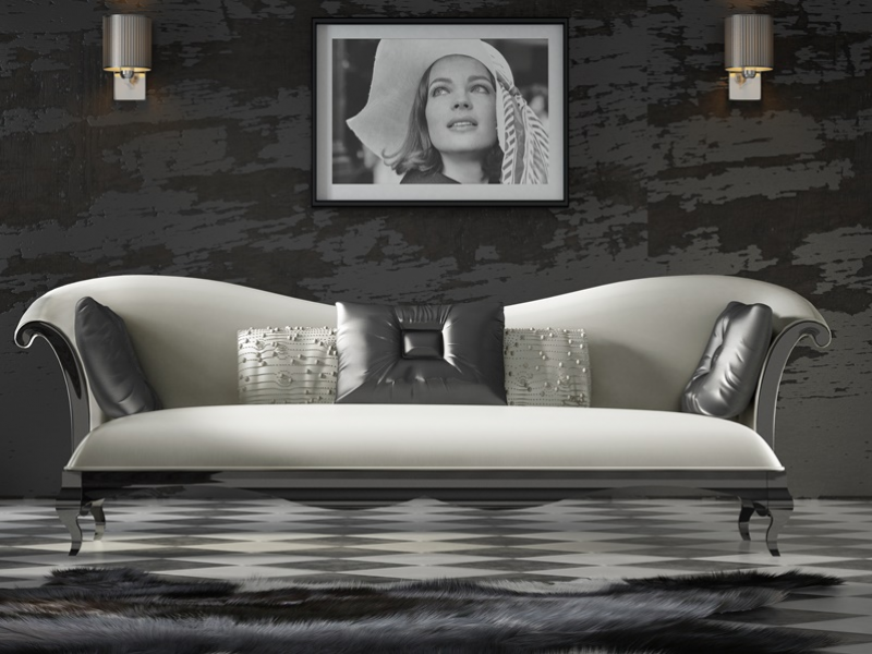 Upholstered and lacquered sofa. Mod. ROYAL