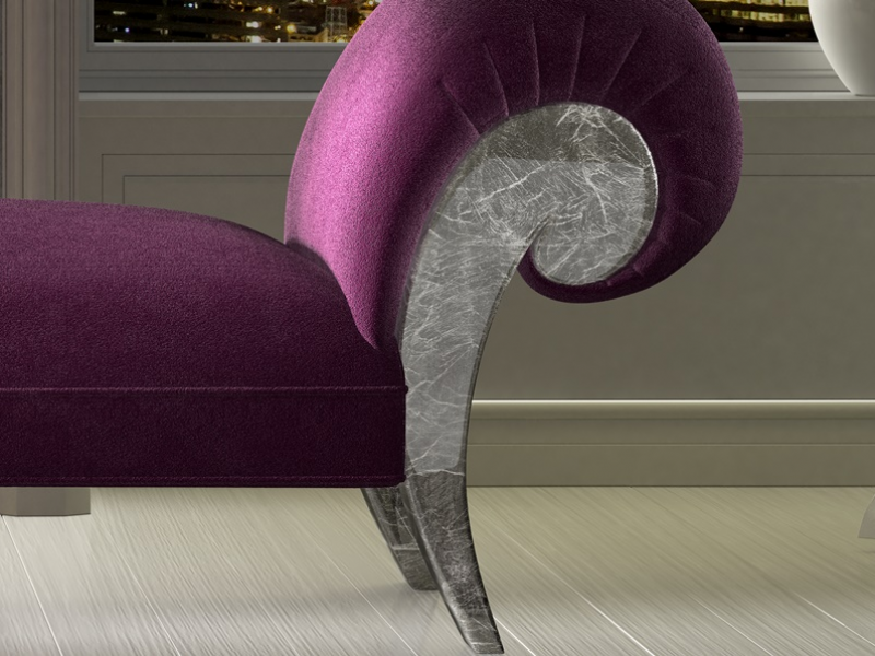 Upholstered and silver leaf finishes lounge chair. SILVER IMPERIUM