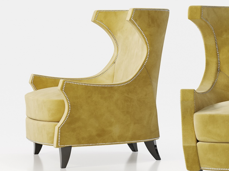 Upholstered armchair with nails. Mod. COLISEUM