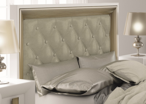 Lacquered and upholstered padded headboard. Mod. TABIA