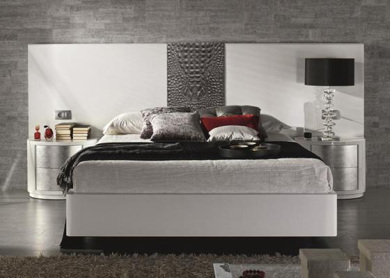 t te de lit laqu e blanc ou noir avec garniture cuir naturel coco gris mod galatea blanc noir. Black Bedroom Furniture Sets. Home Design Ideas