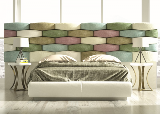 Complete upholstered bed with extra large headboard. Mod. EYLEM