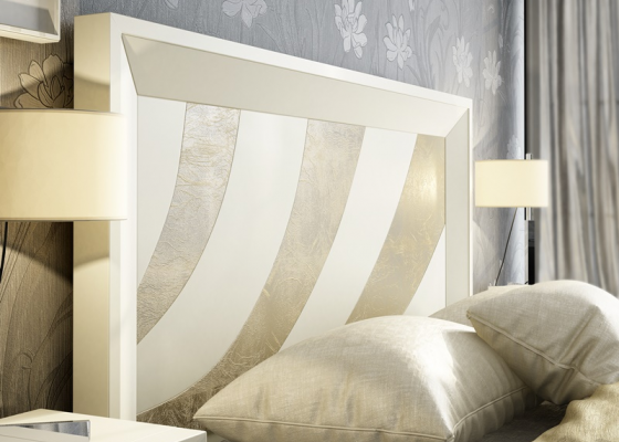 Lacquered headboard with engranving details.Mod. KARINA