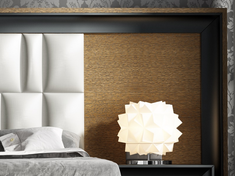 Large oak headboard with lacquered details and upholstered. Mod. ZIBA