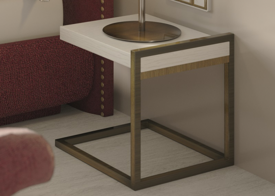 Design bedside tables with metallic base. Mod. DARIA