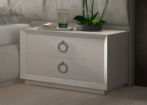 2-drawer oak bedside tables.  Mod. LALEH
