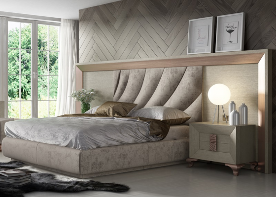 Oak and upholstered complete bed with extra large headboard. Mod. DUNE