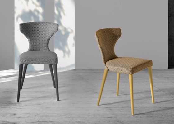 Set of  2 upholstered chairs with wood structure. Mod. ANNA