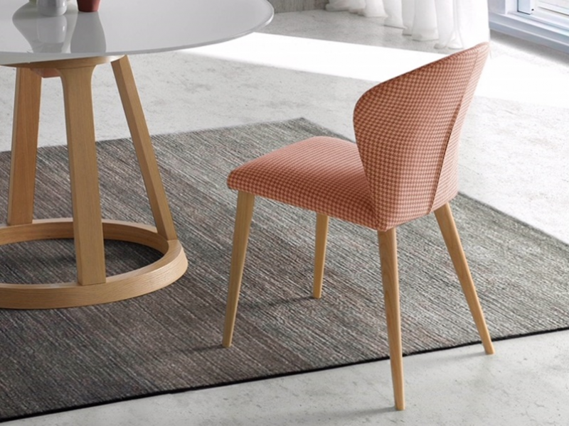 Set of  2 upholstered chairs with wood structure. Mod. MARIA