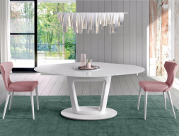Extendable round dining table . Mod. AGNES ROUND
