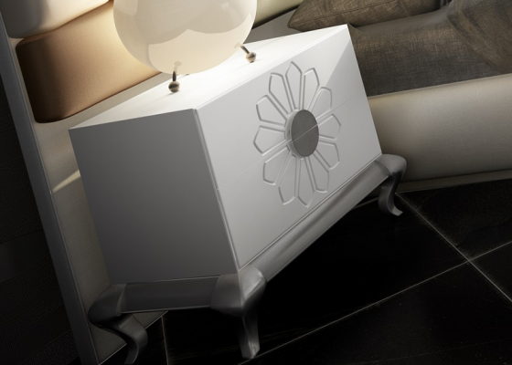 2-drawer lacquered bedside tables with Chippendale base. Mod. FADILA