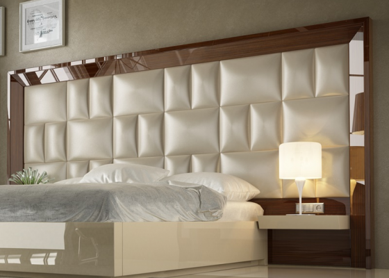 XXL large lacquered and upholstered headboard with 2 shelves bedside tables. Mod. SAHARA