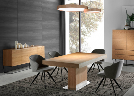 Rectangular extensible dining table ,mod: LEON RECTA OAK
