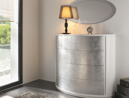 Curved chest of 4 drawers . Mod. AYLLON SILVER