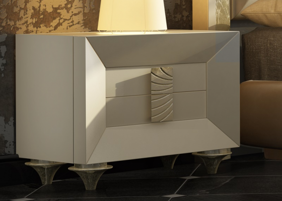 2-drawer lacquered bedside table with cone legs. Mod. ONUR