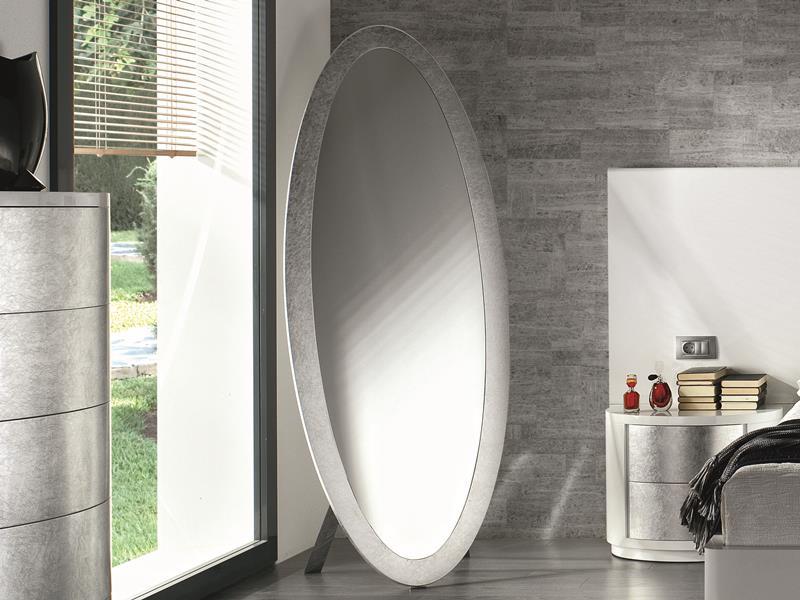miroir de dressing ovale encadrement laqu noir ou blanc. Black Bedroom Furniture Sets. Home Design Ideas