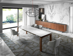 Extendable dining table with walnut structure and ceramic top. Mod. ZINNIA