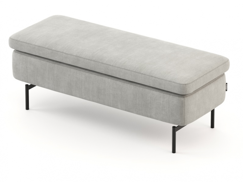 Upholstered bench with lacquered stainless steel base. Mod. FLAVIA