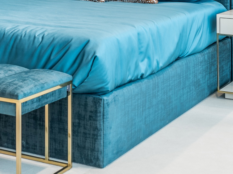 Complete upholstered bed  in velvet with nails details. Mod. AGHATA