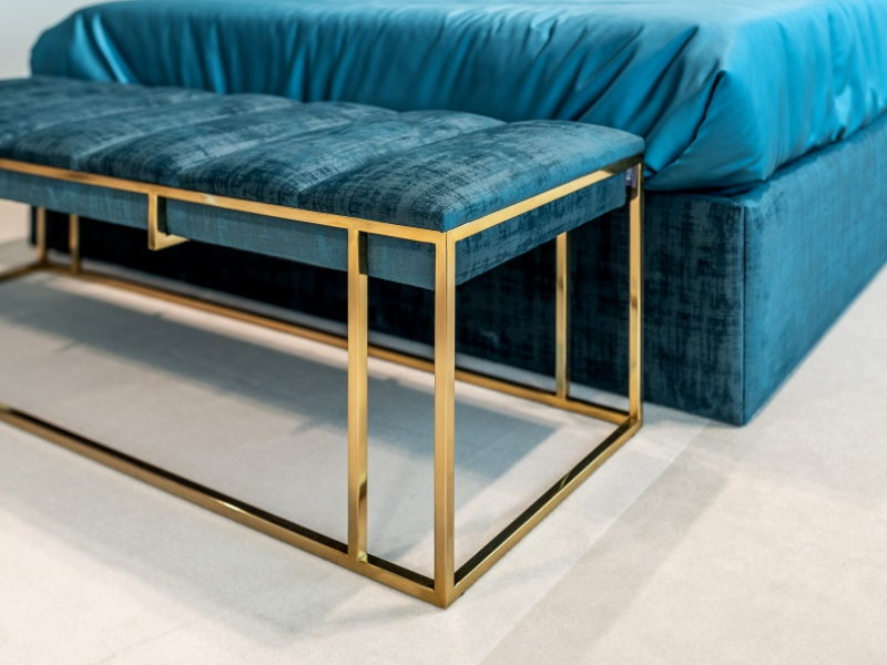 Design upholstered beech with stainless steel structure. Mod. AGHATA