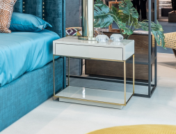 Stainless steel and lacquered bedside tables - set of 2 units. Mod. AGHATA