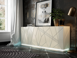 Lacquered sideboard with baseboard and led lighting. Mod. NAUGE