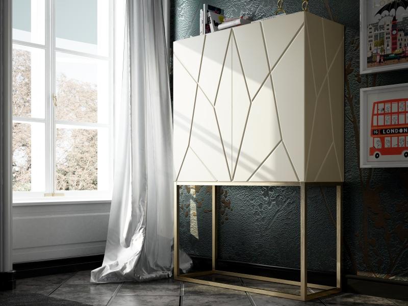 Design bar cabinet with wood doors. Mod. NAUGE