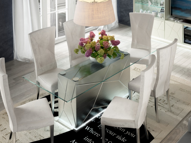 Fixe dining table with glass top. Mod. NAUGE