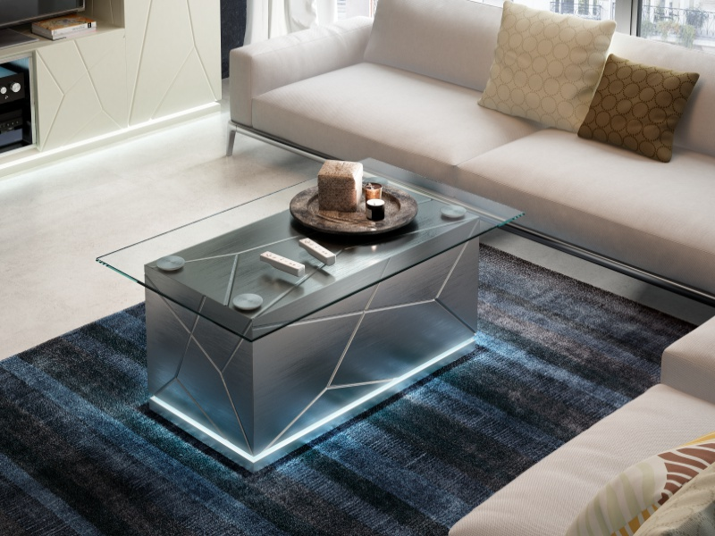 Low table with glass top. Mod. NAUGE