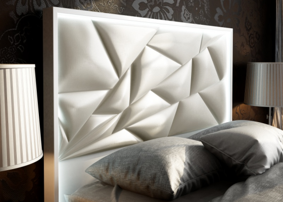 Upholstered and lacquered headboard with led lighting. Mod. NAUGE LED
