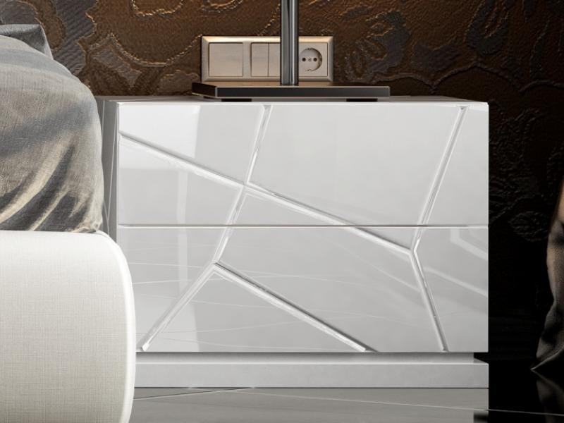 2-drawer bedside tables with led lighting - set of 2 units. Mod. NAUGE LED