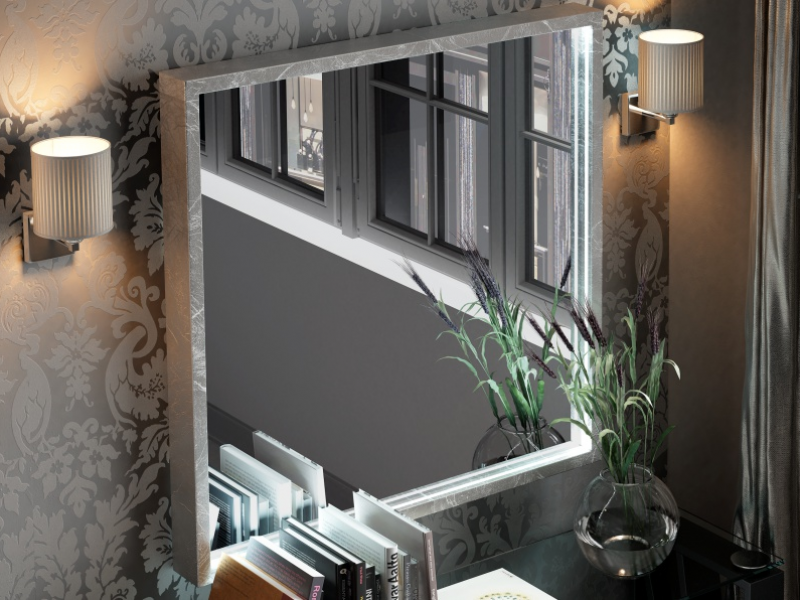 Mirror with led lighting. Mod. LINDE