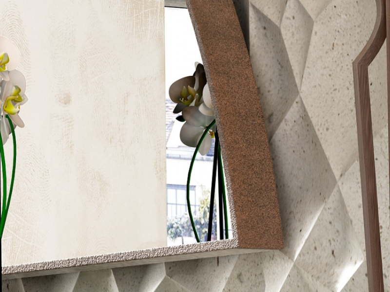 Semicircular metallic mirror. Mod. RODAS