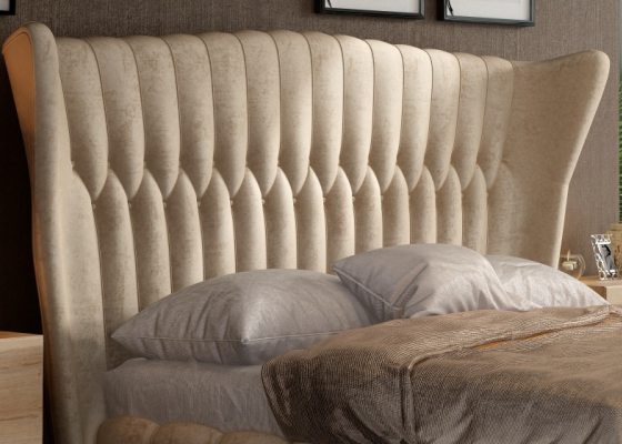Curved upholstered headboard. Mod. NOEMÍ